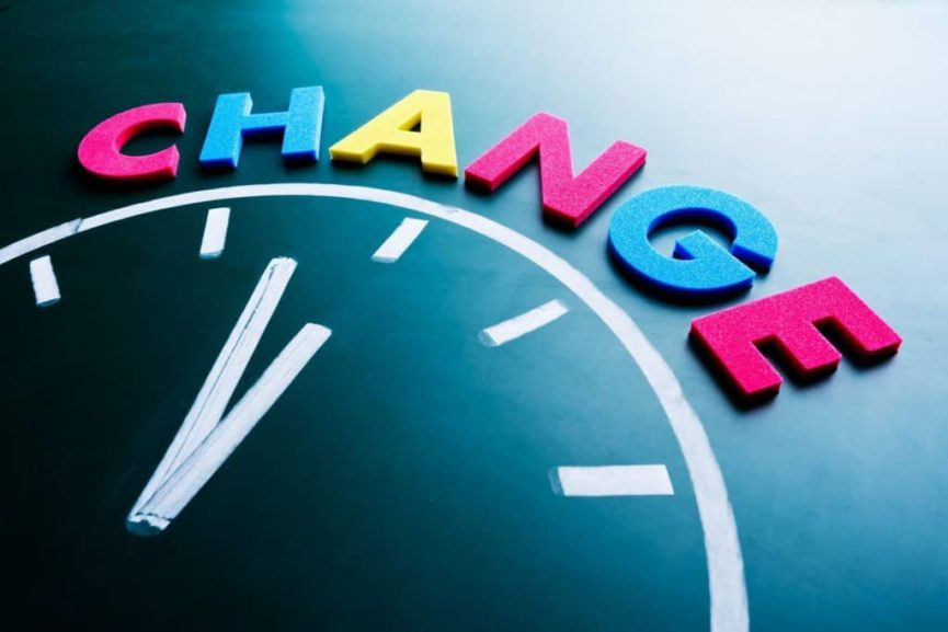 Change written in colorful writing above chalk drawing of clock to promote motivating change