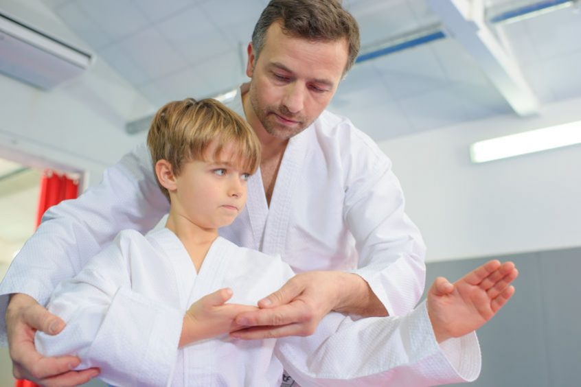 46955105 - little boy in a karate lesson