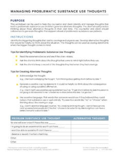 Managing Problematic Substance Use Thoughts PDF Handout
