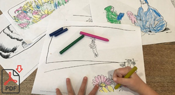 photo of child hands colouring the Once a Wizard additional resource colouring pages