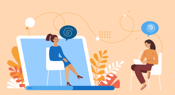 Illustration signifiying someone speaking to a counsellor remotely, with online technology for our Online Counselling workshop